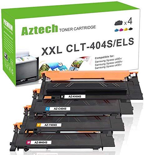 Aztech 4 Toner Compatibile per Samsung CLT-P404C CLT-K404S CLT-Y404S CLT-C404S CLT-M404S Cartucce per Samsung Xpress C480W C480FW C430W C480 C430 C480FN SL-C480W SL-C480FW SL-C430W SL-C430 Stampante