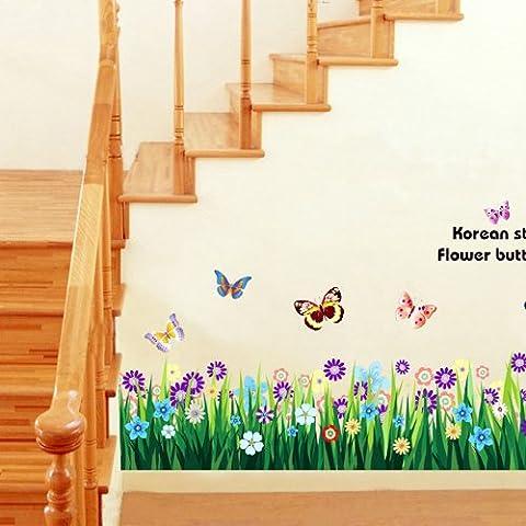 Mariposa de la flor de la hierba DIY del arte del vinilo removible etiqueta de la pared Decal Cita casero mural de habitaciones d ¨ |