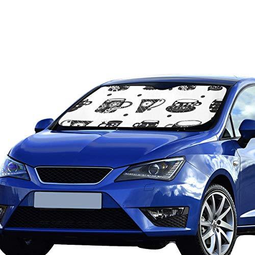 nster Niedlicher bunter Teekannen-Satz-faltbarer Sonnenschutz für maximalen UV- und Sonnenschutz Halten Sie Ihr Fahrzeug kühl Autofenster-Schatten 55 x 30 Zoll (140 x 75 cm) ()