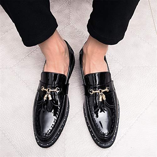HILOTU Scarpe Casual da Uomo di Oxford Scarpe da Ginnastica Classiche in Pelle Stile Classico Scarpe con Fibbia in Metallo con Frange (Color : Nero, Dimensione : 44 EU)