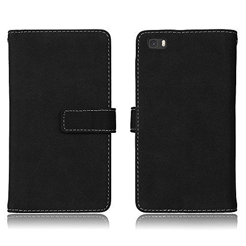 Huawei P8 Lite Hülle , Huawei P8 Lite Hülle Flip Case - Cozy hut Huawei P8 Lite Handyhülle,Premium PU Leder Schutztasche Klappetui Brieftasche Handyhülle - [9 Card Slots Wallet Case] [Magnetverschluss] [Kartenfächer] [Standfunktion] [Brieftasche] - Anti-Rutsch Stoßfest handyhüllen Für Huawei P8 Lite - Schwarz matt