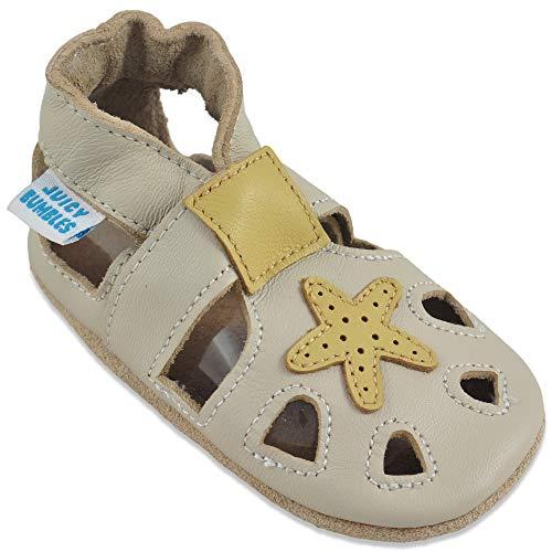 Bambino sandali primi passi - scarpe neonato estive - scarpine neonato in morbida pelle - stella beige - 6-12 mesi