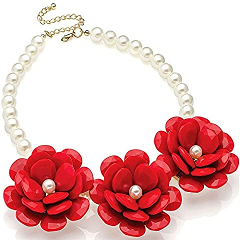 New summer design chunky red flower & faux pearl choker necklace fashion costume jewellery