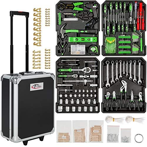 Tectake 799 set di attrezzi trolley valigia alluminio portattrezzi portautensili cassetta