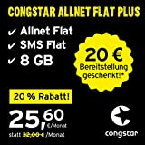 congstar Allnet Flat Plus, SIM, Micro-SIM und Nano-SIM, monatlich kündbar (25,60 Euro/Monat, 8 GB Datenflat mit max. 25 Mbit/s, Allnet Flat und SMS Flat) in bester D-Netz-Qualität