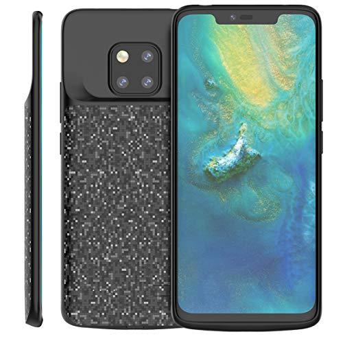 Huawei Mate 20 Pro Akku Hülle, 5000mAh Wiederaufladbar Externer Akku Case Aufladbar Batterie Ladehülle Integrierten Ersatzakku Ladegerät Power Bank Backup Extra Pack Schutzhülle Black