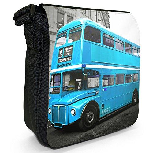 London Bus-Borsa a spalla piccola di tela, colore: nero, taglia: S Turquoise London Bus