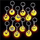 German Trendseller® - 12 x porte-clés emojis┃LED ┃lumière clignotante┃emoticons┃ icons┃ drôle face ┃smiley ┃l'anniversaire d'enfant┃petit cadeau┃80's style┃6 psc