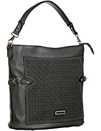 Abrazo Fashionable Black Color Hand Bag For Women's In Good PU Material
