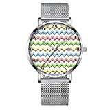 Minimalistische Fashion Quarz-Armbanduhr Elite Ultra Dünn Wasserdichte Sportuhr mit Datum mit Netzband 004.Pastellfarben Chevron-Drop Shadow