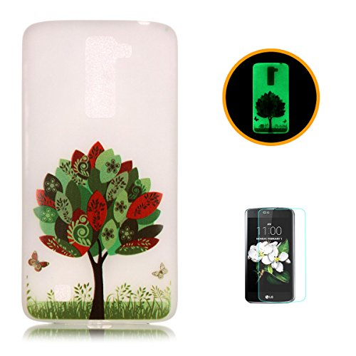 CaseHome LG K8 Luminous Hülle (Mit Frie Displayschutzfolie) Leuchtende Silikone Rückhülle Für iPhone 6 6s Plus 5.5 Zoll Zoll Silikon Etui Handy Hülle Weiche Transparente Luminous TPU Back Case Tasche  Bunte Blätter Schmetterling