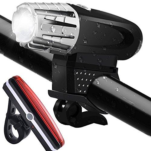 AngelaKerry Wasserdicht LED Fahrradbeleuchtung Set,Wiederaufladbare Fahrradlicht mit LED Rücklicht, Sicherheits-Taschenlampe,320 Lumen,4 Licht-Modi USB Aufladbare Fahrradlichter