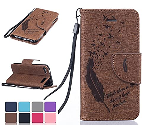 iPod Touch 5th/6th Leather Wallet Flip cover case,(2 in 1 Set)-iFeeker Brown Fashion Feather Design PU Leather Magnetic Closure Flip Cover Stand Wallet Case with Soft TPU Inner Protective Bumper and Card Slots for iPod Touch (5th / 6th Generation) with Free Tempered Glass Screeen Protector