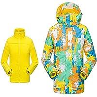 Gimitunus Niños 2 en 1 Impermeable a Prueba de Viento Grueso paño Grueso y Suave Chaqueta de esquí con Capucha cálida Chaqueta de esquí (Color : Amarillo, tamaño : S)