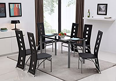 Modern Glass Dining Table Set Black Or White With 4/6 Faux Leather Chairs New