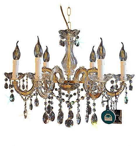 Lampadario in cristallo 6-leuchten o60cm FABBRICATO CON CRISTALLO DI SPETTRI DI SWAROVSKI ORO