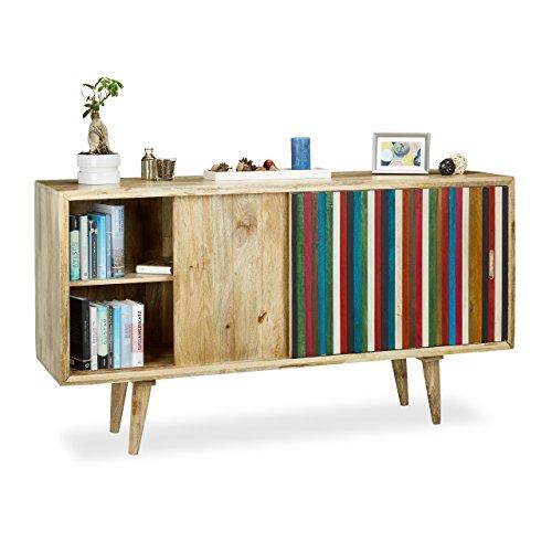 Native Home Buffet commode sideboard en bois manguier meuble rangement coloré portes coulissantes HxlxP: 75 x 160 x 45cm