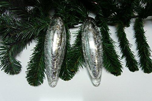Weihnachtskugel,Christbaumschmuck Glas krakelee silber Tropfenform 2 Stück