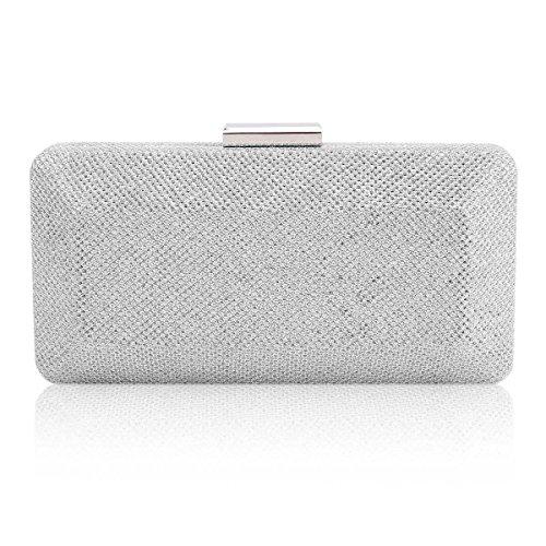 Damara® Damen Einfarbige Clutch Glitzer Pailletten Handtaschen Silber