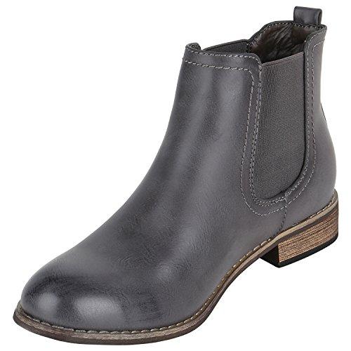 Stiefelparadies Damen Stiefeletten Chelsea Boots Zipper Leder-Optik Schuhe Nieten Metallic Lack Glitzer Blockabsatz Booties Profilsohle Flandell Grau Carlet
