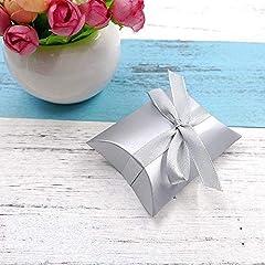 Idea Regalo - JZK 50 Argento scatolina bomboniera Scatola portaconfetti segnaposto per Matrimonio Compleanno Natale Battesimo Comunione Nascita Laurea