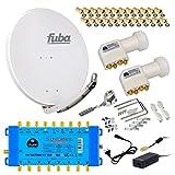FUBA 8 TEILNEHMER DIGITAL SAT ANLAGE DAA850G + 0,1dB LNB FULL HDTV 4K + PMSE Multischalter 9/8 + 35 Vergoldete F-Stecker Gratis dazu