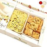 Ghasitaram Gifts Rakhi Gifts for Brother Rakhi Sweets - Soan Papdi and Methi Mathri Hamper with Rudraksh Rakhi