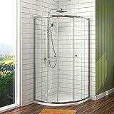 Meykoers Duschkabine 80x80cm Eckeinstieg Runde Dusche mit Schiebetür, Duschabtrennung Duschtür Duschwand Glas Eckdusche, 6mm ESG Sicherheitsglas, Höhe 185cm Radius 55cm