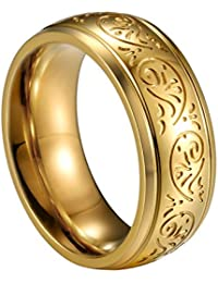 JewelryWe joyas 8 mm Acero Inoxidable Anillo Banda Oro Florentine grabado – Diseño Boda Compromiso Charm