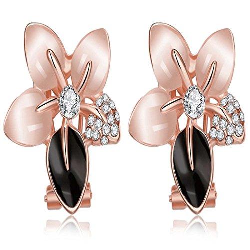 Elementi JewelleryClub oro rosa placcato di cristallo Swarovski Opal Lily viti prigioniere degli orecchini per le donne