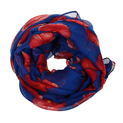 Manadlian [New Arrival Design] Mode Damen Neu Roter Mohn Drucken Langer Schal Blume Strand Wickeln Damen Stola Schal (Blau) (Schal Lange Drucken)