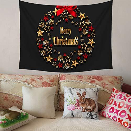 Higlles 150x200 cm Frohe Weihnachten Wandteppich Schwarz Wanddekoration Gold Weihnachtsglocke Drucken Tuch Wandtuch Tapisserie(9 Arten)