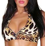 Gogo Top Leo-Leopard Neckholder Einheitsgröße für 34,36 und 38
