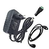 DZYDZR AC/DC Adapter Power Supply DC 12V 2A Netzadapter Wall Plug 2,1/2,5mm x 5,5mm Plug für LED Band + 12V Mutter DC Kabelstecker + 1m DC 12v Kabel Verlängerung