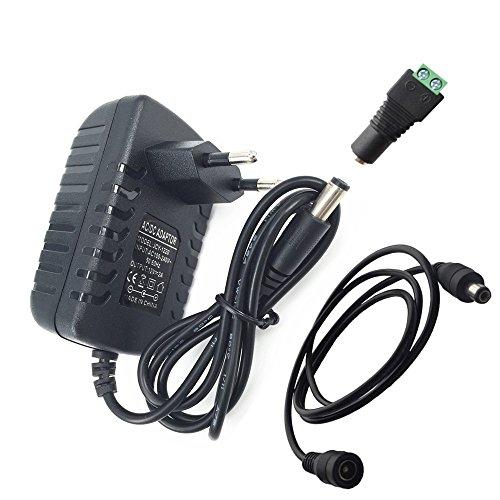 DZYDZR AC/DC Adapter Power Supply DC 12V 2A Netzadapter Wall Plug 2,1/2,5mm x 5,5mm Plug für LED Band + 12V Mutter DC Kabelstecker + 1m DC 12v Kabel Verlängerung (Mm 2,5 Ac Adapter)