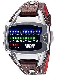 DETOMASO Tecpunk Herren-Armbanduhr mit silbernen Edelstahlgehäuse und echtem Lederarmband. Binäre Digitaluhr mit LED-Anzeige.
