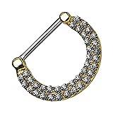 Piersando Piercing Ring Intimpiercing für Intimbereich Brustwarzen Brust Nippel Nippelpiercing Clicker mit Doppel Kristallen Gold 1,2mm