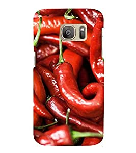 Fuson Premium Back Case Cover Red Mirchi With Brown Background Degined For Samsung Galaxy S7::Samsung Galaxy S7