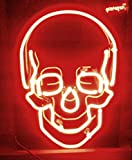 "Cozyle Skull Neon Sign 17""x14"" Real Glass Bright Neon Light for Mancave Beer Bar Pub Garage Room"
