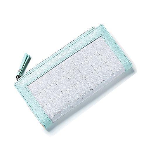 Portafoglio Donna - Borse in pelle di Cuoio delle Donne in PU borse Portafoglio Portafoglio Lungo in Lana Frizione (Rosa) Verde