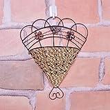 heartogether Nice Hierro y tejido de ratán para colgar en la pared maceta pared haning Decoración bracketplant