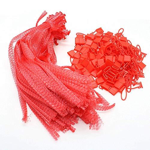 Hinleise 100 Stück Wiederverwendbare Netz-Nylon-Netze für Gemüse, Spielzeug herstellen, rot
