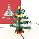 Weihnachtskarte - Handgemachte 3D Pop Up Klappkarte mit Umschlag - Weihnachtsbaum Klappkarte- Ausgefallene Karte zu Weihnachten