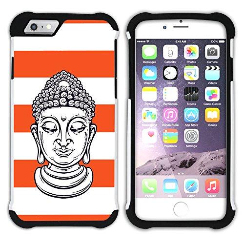 Graphic4You Buddha-Kopf Linien Muster (Wasserblau) Hart + Weiche Kratzfeste Hülle Case Schale Tasche Schutzhülle für Apple iPhone 6 Plus / 6S Plus Orange