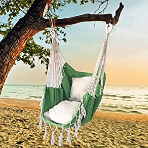 succeedw Swing Hanging Chair with Cushion Tied Rope Canvas Swing Chair Seat for Children Adult Student Dormitory Courtyard   5