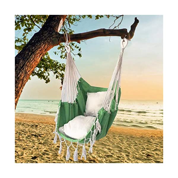 succeedw Swing Hanging Chair with Cushion Tied Rope Canvas Swing Chair Seat for Children Adult Student Dormitory Courtyard succeedw Extra Cosy Swing: Hammock swing chair is handcrafted from soft and durable polyester cotton ropes and canvas fabric, and it protects from outdoor elements and ensures years of enjoyment. Easy to Install: The length of the hammock is 130cm / 51in, which can be easily moved anytime, anywhere, and the load bearing weight is 120kg /265 pound, suitable for adults and children. Comfortable Cushion: This hammock chair with cushions is uniquely designed, will be perfect for relaxing with the hammock chair in your patio, yard, garden, deck. You won't feel tired for no matter how long you sit in it. In this way, you can meditate, take a nap in it comfortably. 1