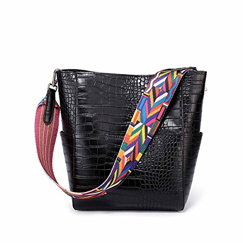 Bucket Bag Handtasche Schultertasche Einfache High-Capacity Messenger Bag,Black Black