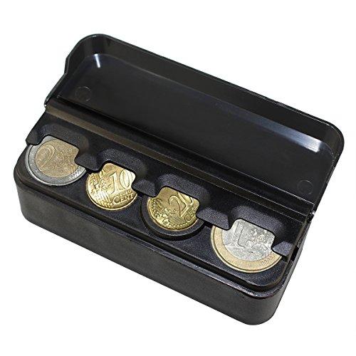 YINUO Portamonedas Clasificador De Monedas Con Tapa Para Coche Negro