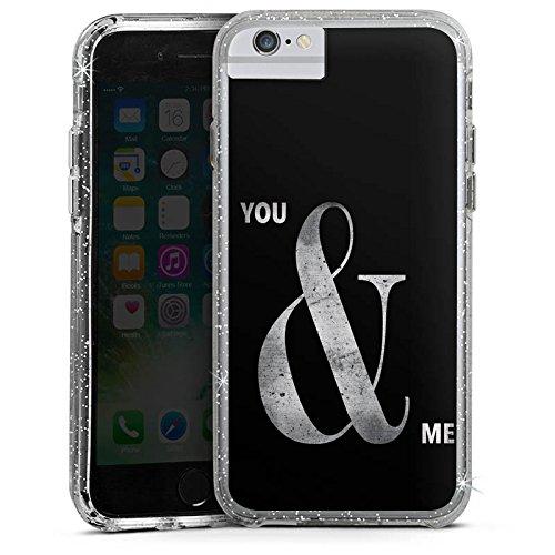 Apple iPhone 8 Bumper Hülle Bumper Case Glitzer Hülle You & Me Friendship Freundschaft Bumper Case Glitzer silber