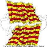 Cataluña catalán saludando bandera España catalunya 3'(75mm) vinilo parachoques pegatinas, adhesivos X2